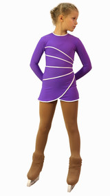 IceDress Figure Skating Dress-Thermal -  Grace (Violet with White Line)