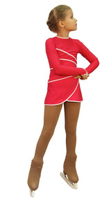 IceDress Figure Skating Dress-Thermal -  Grace (Raspberry with White Line)