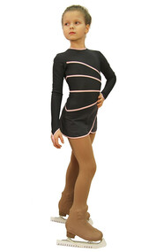 IceDress Figure Skating Dress-Thermal -  Grace (Gray with Pink Line)