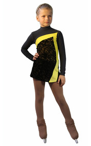 IceDress Figure Skating Dress-Thermal -  Charlotte (Gray and Yellow)