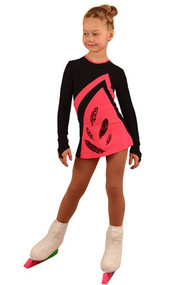 IceDress Figure Skating Dress - Thermal - Velvet (Black with Coral)