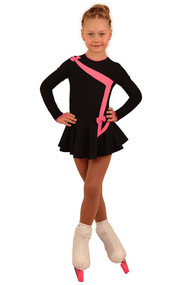 IceDress Figure Skating Dress - Thermal - Bows 2 (Black with Bright Coral)
