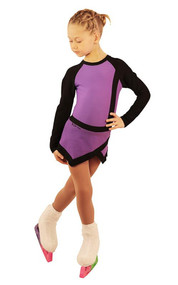 IceDress Figure Skating Dress - Thermal - IceSports (Purple with Black)