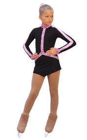 IceDress Figure Skating Outfit - Thermal - Arabesque 2 (Black  with Pink rhinestones)