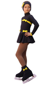 IceDress Figure Skating Outfit - Thermal - Bows (Dark Grey and Yellow)