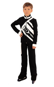 IceDress Figure Skating Outfit - Thermal - IceDress for Boys(Black with White)