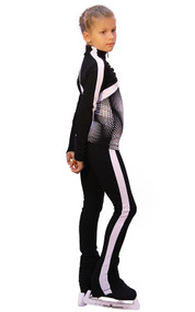 IceDress Figure Skating Outfit - Thermal - Jump (Black with White stripes)