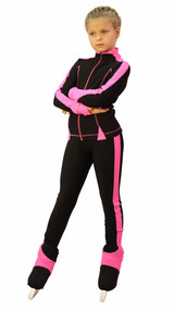 IceDress Figure Skating Outfit - Thermal -Bracket (Black with Pink Line)