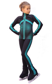 IceDress Figure Skating Outfit - Thermal - Jump (Dark-Grey with Mint stripes)