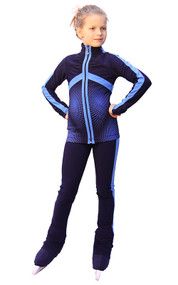 IceDress Figure Skating Outfit - Thermal - Jump (Dark Blue with Blue stripes)