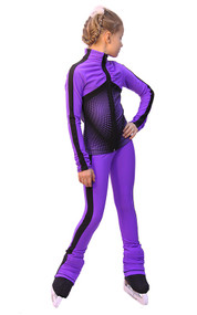 IceDress Figure Skating Outfit - Thermal - Jump (Purple with Black stripes)