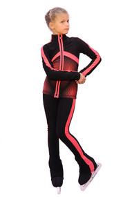 IceDress Figure Skating jacket - Jump (Black with Coral stripes)