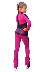 IceDress Figure Skating jacket - Jump (Fuchsia with Gray-Blue stripes)