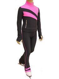 IceDress Figure Skating Jacket - Rays (Dark Grey and Pink)