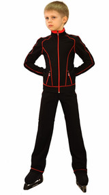 IceDress Figure Skating Jacket - Todes for Boys(Black with Red Line)