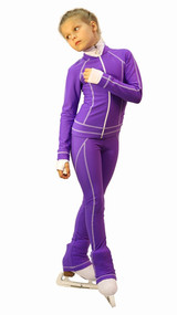 IceDress Figure Skating Pants -Todes(Purple with White Line)