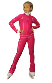 IceDress Figure Skating Pants -Todes(Fuchsia with White Line)