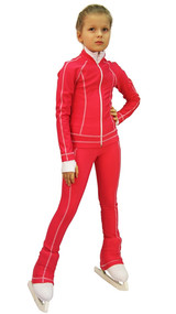 IceDress Figure Skating Pants -Todes(Raspberry with White Line)