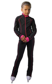 IceDress Figure Skating Pants -Todes(Grey with Pink Line)