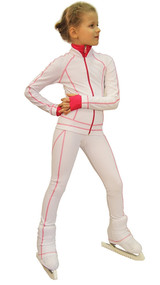 IceDress Figure Skating Pants -Todes(White with Raspberry Line)