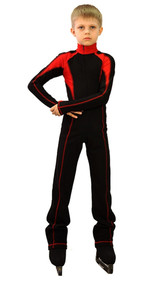 IceDress - Figure Skating Training Overalls -  Axel (Black and Red)