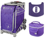 Zuca Sport Bag - Skates & Bows with Gift Lunchbox and Seat Cover (Grey Frames)