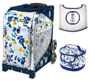 Zuca Sport Bag - Boho Floral  with Gift Lunchbox and Seat Cover (Navy Frames)