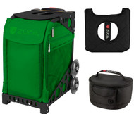 Zuca Sport Bag - Emerald with Gift Lunchbox and Seat Cover (Black Frames)