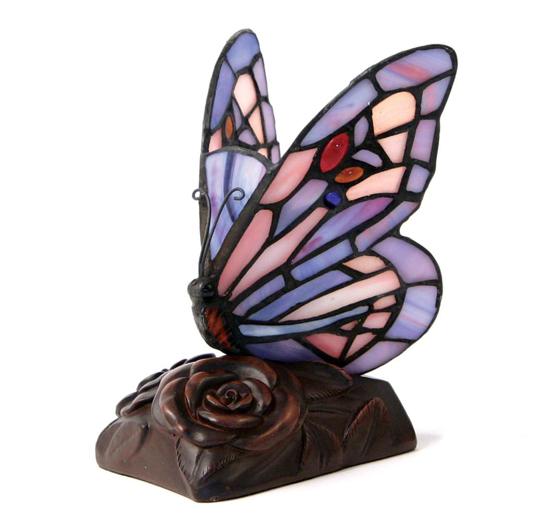 Tiffany Style Butterfly Lamp Keepsake   Purple