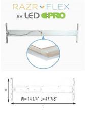 Razr-Flex LED 2X4 Troffer KIT  - (4) 18w Ballast Bypass- Aluminum - 40K or 50K - FROSTED