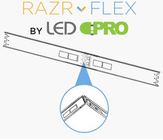 "Razr-Flex LED 2' Strip KIT - 4"" or 5"" Wide - (2) 9w Tube - Poly/Aluminum"