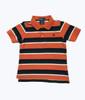 Orange Navy Striped Pique Polo Shirt