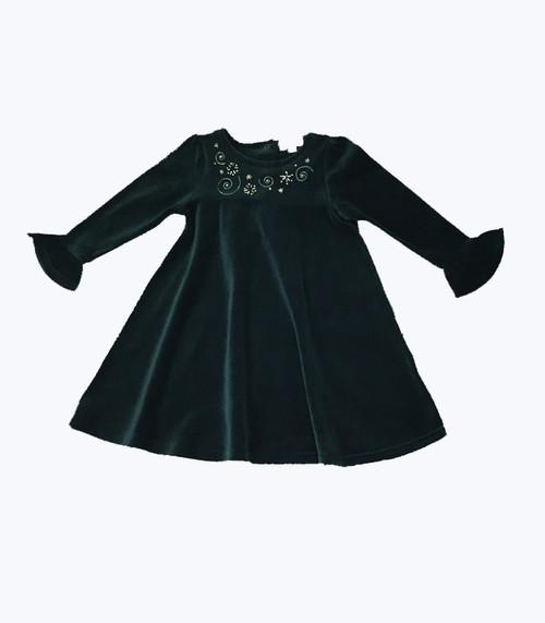 NWT Holiday Green Velour Dress -Swirls & Stars
