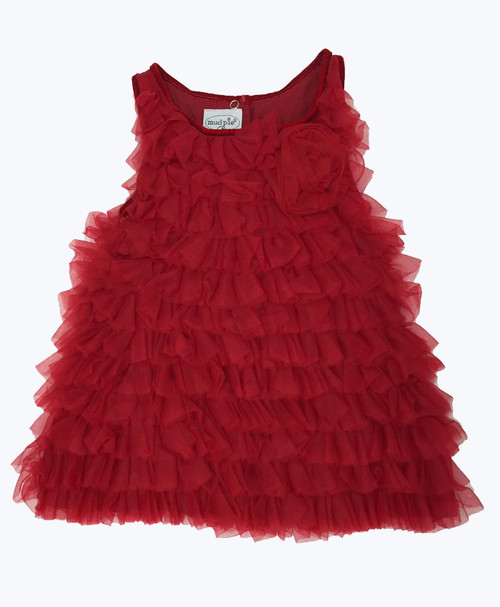 NWOT Red Chiffon Tulle Tiered Dress