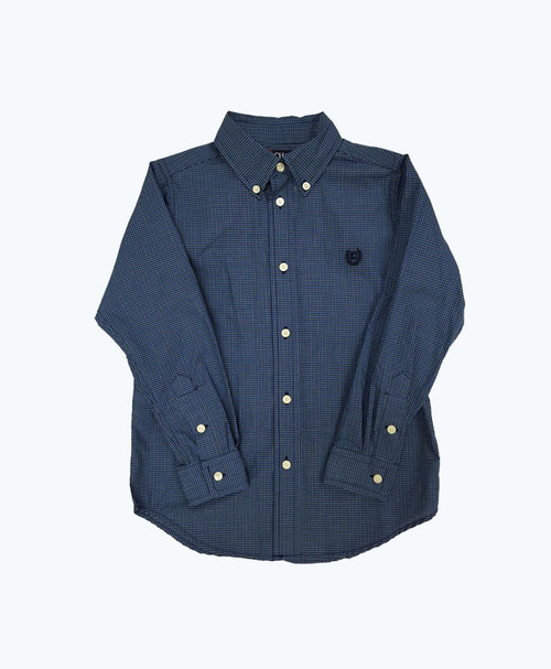 Boy Gingham Button Down Shirt - Blue & White