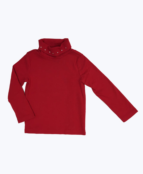 Girl Red Rhinestone Turtleneck Shirt