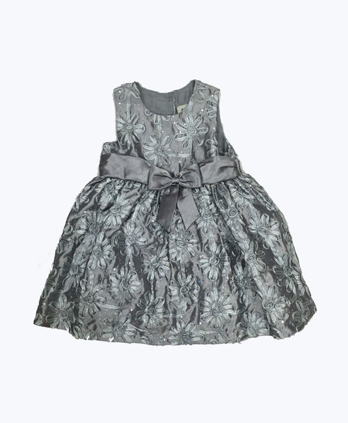 SOLD - Floral Silver Dress