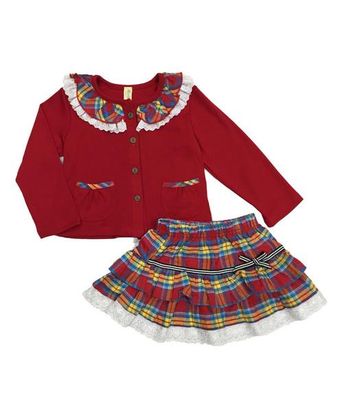 Plaid Cardigan & Skirt Set