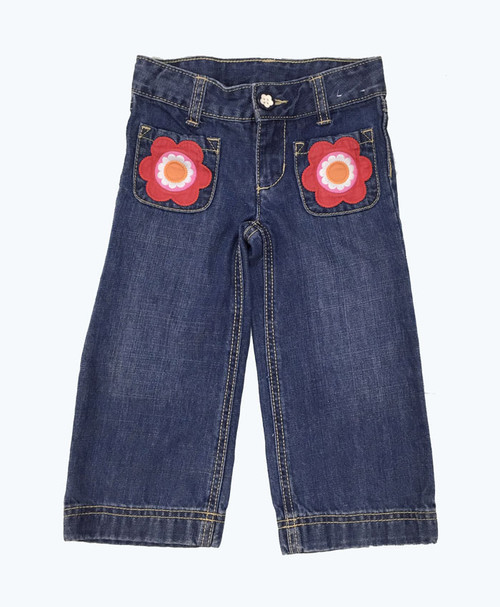 SOLD - Appliquéd Flowers Denim Jeans