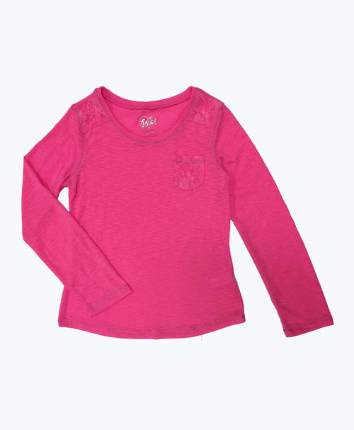 SOLD - Hot Pink Lace Top