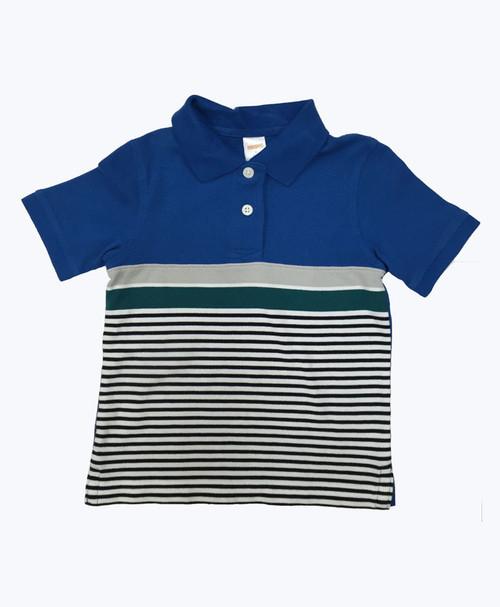 Blue & Green Striped Pique Polo