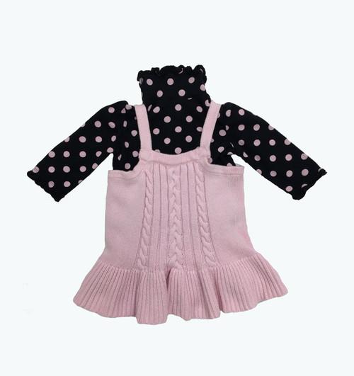 Pastel Pink Sweater & Polka Dot Shirt Set