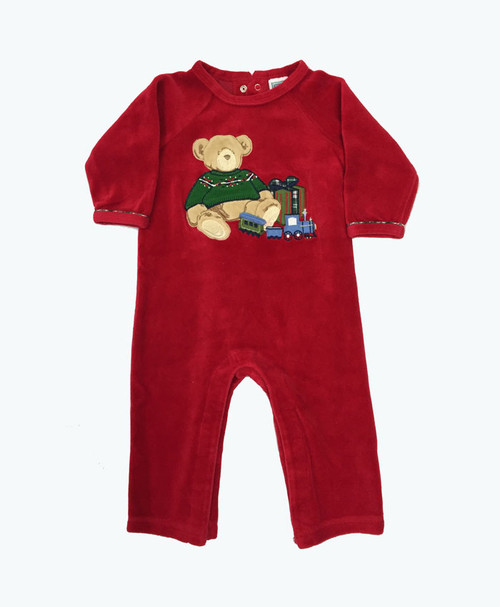 Baby Boy Velour Teddy Bear Romper
