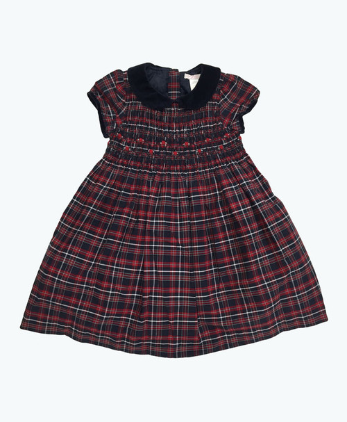 Red & Navy Smocked Plaid Dress