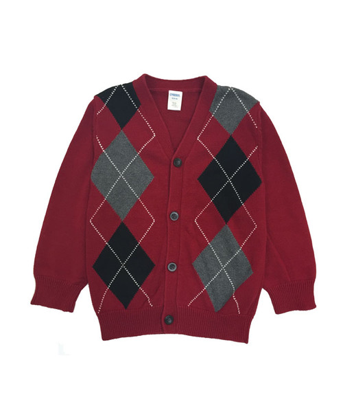 Argyle Red & Black Cardigan