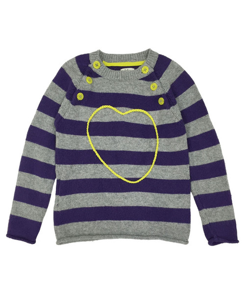 Purple Striped Heart Sweater