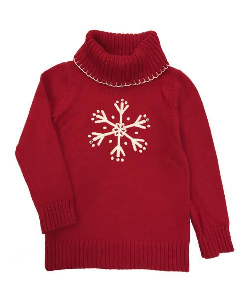Red Snowflake Turtleneck Sweater
