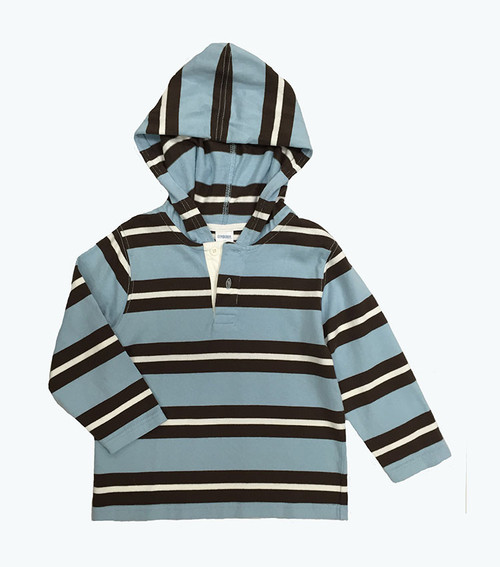 SOLD - Striped Long Sleeve Hooded Top