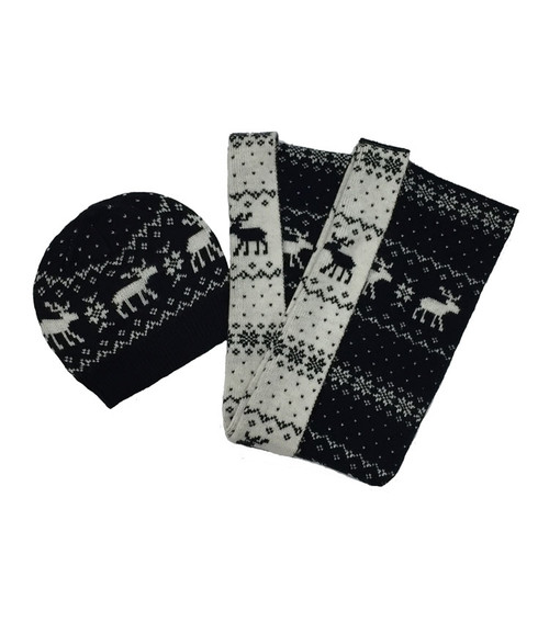 Black & White Moose Scarf and Hat Set