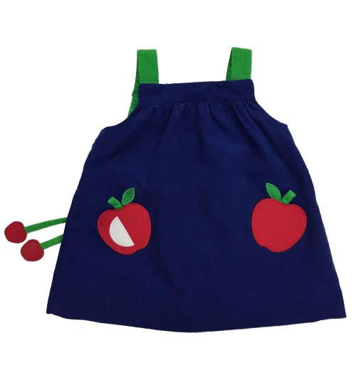 Little Girl's Apple Corduroy Jumper Dress